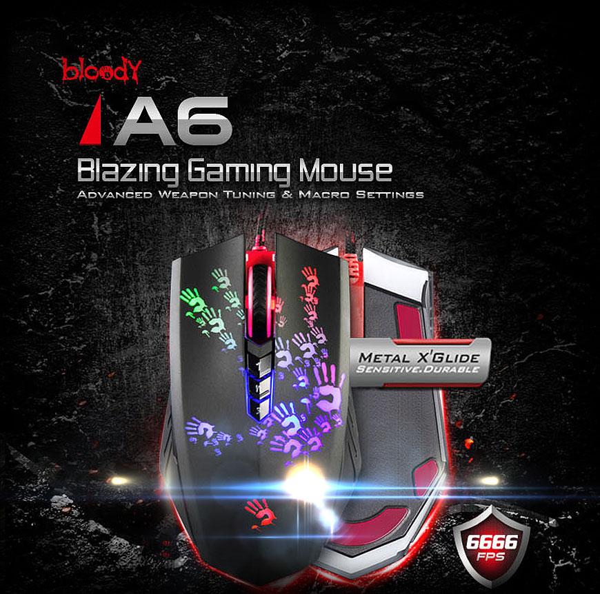 A4Tech Bloody Blazer A6 мишка с метални крачета  и подсветка