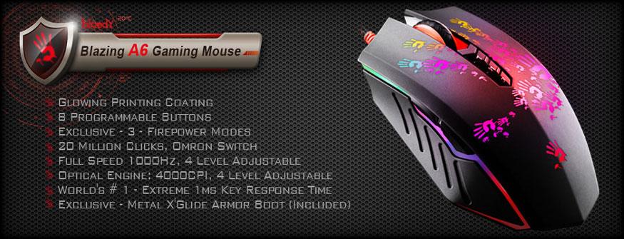 A4Tech Bloody Blazer A6 тийзър, подсветка, програмируеми бутони, метални крачета