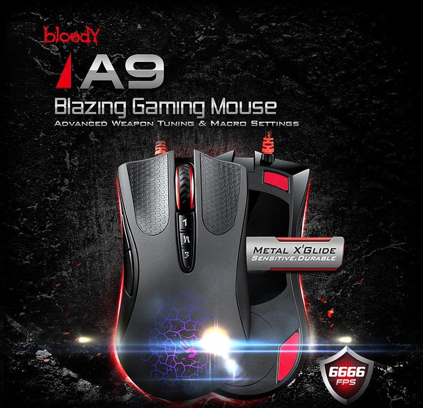 A4Tech Bloody Blazer A9 мишка за игри с метални крачета отдолу
