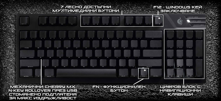 CM Storm Quick Fire TK Stealth Brown полезен стил, 7 мултимедийни бутона, лед подсветка