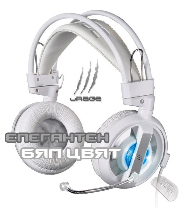 Hama uRage xPlode Evo white - бели слушалки за геймъри със синьо LED осветление.